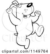 Cartoon Clipart Of A Black And White Jumping Doggy Character Vector Outlined Coloring Page
