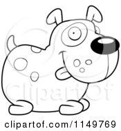 Cartoon Clipart Of A Black And White Chubby Spotted Dog Sitting Vector Outlined Coloring Page