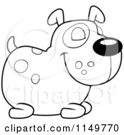 Cartoon Clipart Of A Black And White Spotted Dog Resting Vector Outlined Coloring Page