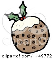 Cartoon Of Christmas Plum Pudding Royalty Free Vector Clipart