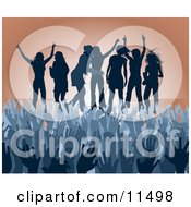 Blue Group Of Silhouetted Women Raising Their Arms And Celebrating On Stage At A Concert Clipart Illustration by AtStockIllustration