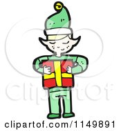 Cartoon Of A Christmas Elf Holding A Gift Royalty Free Vector Clipart