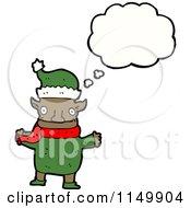 Cartoon Of A Thinking Christmas Elf Royalty Free Vector Clipart