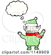 Cartoon Of A Thinking Christmas Elf Royalty Free Vector Clipart by lineartestpilot