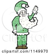 Cartoon Of A Green Santa Royalty Free Vector Clipart