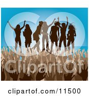 Brown Group Of Silhouetted Women Raising Their Arms And Celebrating On Stage At A Concert Clipart Illustration by AtStockIllustration