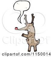 Cartoon Of A Thinking Christmas Reindeer Royalty Free Vector Clipart