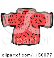 Cartoon Of A Red Christmas Sweater Royalty Free Vector Clipart