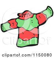 Cartoon Of A Red And Green Christmas Sweater Royalty Free Vector Clipart