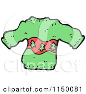 Cartoon Of A Green Christmas Tree Sweater Royalty Free Vector Clipart