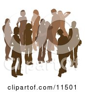 Brown Group Of Silhouetted People Hanging Out In A Crowd Two Friends Embracing In The Middle
