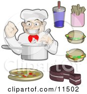 Male Chef Cooking Surrounded By Soda Fries Cheeseburgers Cake And Piza Clipart Illustration by AtStockIllustration