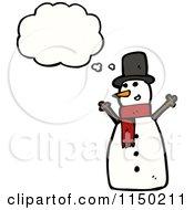 Cartoon Of A Thinking Christmas Snowman Royalty Free Vector Clipart