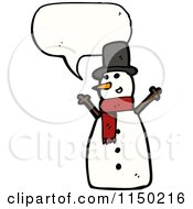 Cartoon Of A Thinking Christmas Snowman Royalty Free Vector Clipart by lineartestpilot