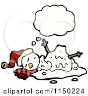 Cartoon Of A Thinking Winter Christmas Melting Snowman Royalty Free Vector Clipart by lineartestpilot