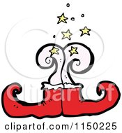 Cartoon Of Red Christmas Elf Shoes Royalty Free Vector Clipart by lineartestpilot