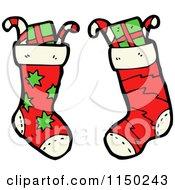 Cartoon Of Stuffed Christmas Stockings Royalty Free Vector Clipart