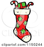 Cartoon Of A Stuffed Christmas Stocking Royalty Free Vector Clipart
