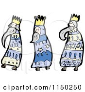 Cartoon Of The Three Kings Royalty Free Vector Clipart by lineartestpilot
