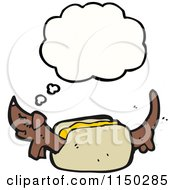 Cartoon Of A Thinking Weiner Dog In A Bun Royalty Free Vector Clipart