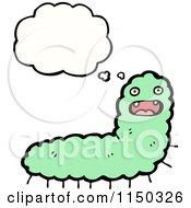 Cartoon Of A Thinking Green Caterpillar Royalty Free Vector Clipart