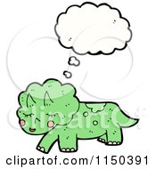 Cartoon Of A Thinking Green Triceratops Royalty Free Vector Clipart by lineartestpilot