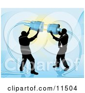 Poster, Art Print Of Two Businessmen Working Together To Connect A Plug And Socket Over Blue