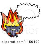 Cartoon Of A Thining Fiery Vampire Bat Royalty Free Vector Clipart
