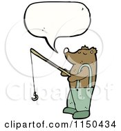 Cartoon Of A Thinking Fishing Bear Royalty Free Vector Clipart by lineartestpilot