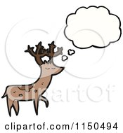 Cartoon Of A Deer With A Thought Balloon Royalty Free Vector Clipart by lineartestpilot