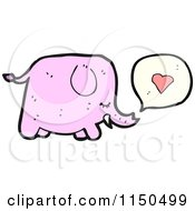 Cartoon Of A Pink Elephant Thinking About Love Royalty Free Vector Clipart