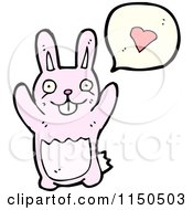 Cartoon Of A Pink Rabbit Thinking About Love Royalty Free Vector Clipart