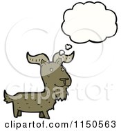 Cartoon Of A Thinking Goat Royalty Free Vector Clipart by lineartestpilot