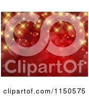 Clipart Of A Red Christmas Background With Gold Bokeh Lights And Twinkles Royalty Free Vector Clipart