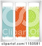 Clipart Of Three Retro Christmas Snowflake Banners Royalty Free Vector Clipart