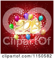 Clipart Of A Red Happy New Year 2013 Background With Stars And Balloons Royalty Free Vector Clipart by KJ Pargeter
