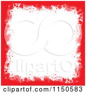 Clipart Of A Red Grungy Snowflake Border With White Copyspace Royalty Free Vector Clipart