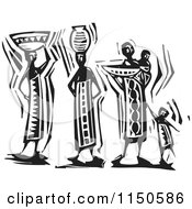 Clipart Of Black And White Woodcut Maasai Women And Child Royalty Free Clipart