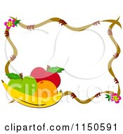 Cartoon Of A Frame Of Fruit And Flowers Royalty Free Vector Clipart by bpearth