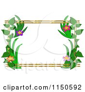 Cartoon Of A Floral Frame With Bamboo Royalty Free Vector Clipart by bpearth