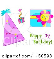 Party Hat Gifts And Happy Birthday Text