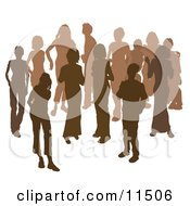 Two Women Chatting Among A Crowd Of Silhouetted Brown People