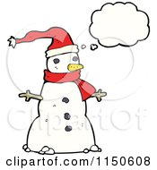 Cartoon Of A Thinking Christmas Snowman Royalty Free Vector Clipart
