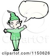 Cartoon Of A Talking Christmas Elf Royalty Free Vector Clipart