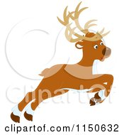 Cartoon Of A Leaping Or Flying Christmas Reindeer Royalty Free Vector Clipart by Alex Bannykh