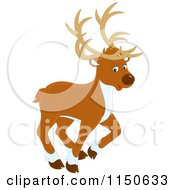 Cartoon Of A Walking Christmas Reindeer Royalty Free Vector Clipart by Alex Bannykh