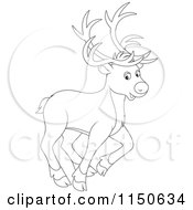 Cartoon Of An Outlined Walking Christmas Reindeer Royalty Free Vector Clipart by Alex Bannykh