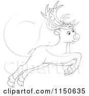 Cartoon Of An Outlined Leaping Or Flying Christmas Reindeer Royalty Free Vector Clipart