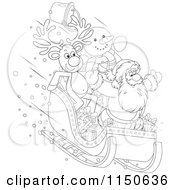 Cartoon Of An Outlined Reindeer Snowman And Santa Riding Downhill In A Sleigh Royalty Free Vector Clipart