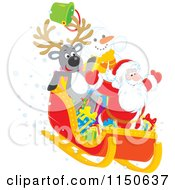 Cartoon Of A Reindeer Snowman And Santa Riding Downhill In A Sleigh Royalty Free Vector Clipart by Alex Bannykh